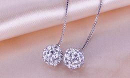 Vente en gros 2016 coréenne haute qualité 925 bijoux en argent sterling double boule strass gland argent balancent boucles d'oreilles pour les femmes bijoux fins