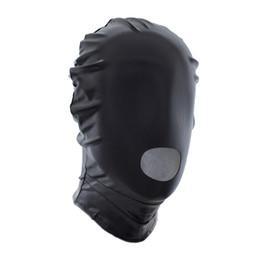 $enCountryForm.capitalKeyWord Canada - Leather bound flirt mask toys Faux Leather Slave Hood with Mouth Open Restraint Submission Training Bondage Fetish Costume
