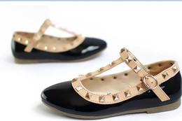 0cd6ba5b7 Zapatos para niños Moda Rivet Princess Charol Niños Niños de tacón bajo  Sandalias con cuña Rojo rosa Negro