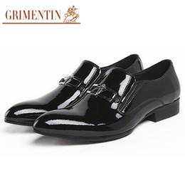 Grimentin Shoes UK - GRIMENTIN Hot Sale Formal Mens Dress Shoes Fashion Designer Slip-On Men Loafers Patent Leather Wedding Business Male Shoes For Large Size