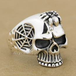 mens sterling silver stone rings NZ - Black CZ Stone Spider 925 Sterling Silver Net Skull Mens Ring 9Q001 US Size 8~14