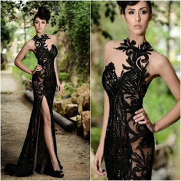 Vestido Largo Fiesta De Graduación Baratos-2016 Negro Rami Salamoun Split Vestidos de baile largo Appliqued Sheer alto cuello rebordear sirena formal vestido de noche Real Image Cheap Party Dress