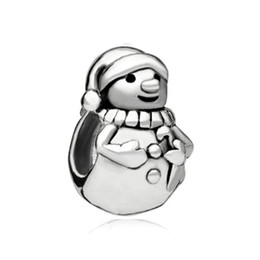 diy bracelets wholesale UK - simple style one color Rhodium plating Merry Christmas Cute Snowman European infant bead charm Fits Pandora DIY Bracelet
