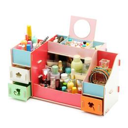 $enCountryForm.capitalKeyWord Canada - Wooden Storage Box With Mirror 30.8x20x20.6CM Jewelry Container Makeup Organizer Case Handmade DIY Assembly Cosmetic Organizer Wood Box
