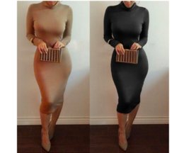 Barato Venda De Vestidos-Hot Sale Fashion Turtle Neck mangas compridas Solid Body Body Body