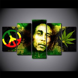 $enCountryForm.capitalKeyWord Australia - 5 Pcs HD Printed Bob Marley Wall Picture For Living Room On Canvas Painting Framed Poster Picture Art Oil Painting