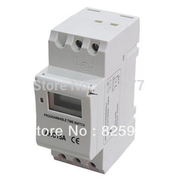 din rail switches UK - 6pcs a lot High Efficiency THC15A 220V-250VAC 16A Digital LCD Power Programmable Din Rail Timer