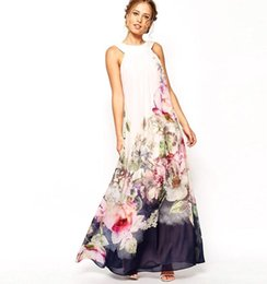 Barato Casuais Maxi Praia Vestidos-2015 Summer Style Floral Print Maxi Casual Vestidos Mulheres Beach Club Loose Chiffon Sleeveless O-Neck Long Elegant Dress Plus Size OXL072901