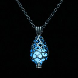 Glow Costumes Canada - Fluorite Glow Pendant Necklace Hollow Out Glow in the Dark Pendant Luminous Water Drop Costume Jewellery Chunky Necklaces NL022