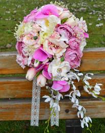 High Quality Custom Beautiful Wedding Bouquet Bridal Bridesmaid Flower Rose Lu Lotus Waterfall Artificial X18