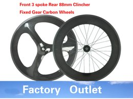 Track Front Canada - Factory outlet T700c carbon wheel fixed gear wheel front 3spokes rear 88mm track bike wheeset 700c with Novatec Hub