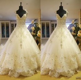 Barato Vestidos Longos De Renda De Seda-Hot Luxury V-Neck Ball Gown Long Trem Silk Organza Lace Applique Zuhair Murad 2014 Church Wedding Dresses Crystal Beaded Bling Bridal Gowns