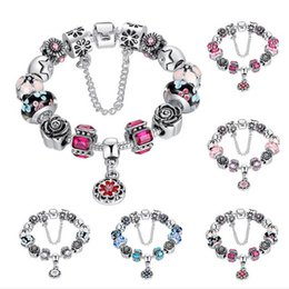 $enCountryForm.capitalKeyWord Canada - 2016 Hot Sell European Style 925 Silver Crystal Charm Bracelet for Women With Blue Murano Glass Beads DIY Jewelry