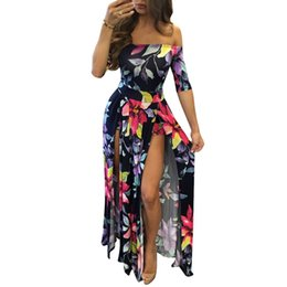 Swimwear deSignS for women online shopping - Long Maxi Dress Designs off the Shoulder Print Casual Dresses Half Sleeve Split Summer Beach Party Evening Dresses Swimwear for Women Lady