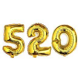 1 Pz 16 pollice 0-9 Oro Argento Numero Palloncini Foil Digit Elio Ballons Festa di Compleanno Decorazione di Cerimonia Nuziale Aria Baloons Rifornimenti Del Partito di Alta Qualità