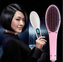 Wholesale Beautiful Star White Pink Straightening Irons Come With LED Display Electric Straight Hair Comb Brush US EU AU UK Plug with Black Box