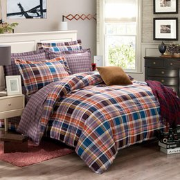 Discount western bedding sets - Wholesale-4-pieces Western Purple Checked Bedding Set King Duvet Cover Queen Bed Sheet Multi tones Plaids Pillowcase hou