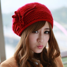 Discount angora hats - Wholesale-Factory Outlet 2015 New Arrival Hot Sale Autumn and Winter Black Rabbit Fur Hat Fashion Soft Angora Berets for