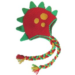 Newborn Props Hat Dinosaur Canada - Novelty Red Dinosaur Hat,Handmade Knit Crochet Baby Boy Girl Monster Animal Hat,Kids Earflap Funny Hat,Infant Newborn Photography Props