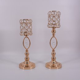 metal centerpiece stands NZ - Metal Golden Crystal Candle Holders Wedding Table Candelabra Centerpiece Flower Rack Road Lead Home Candle Stand Decor 10 Pcs   Lot