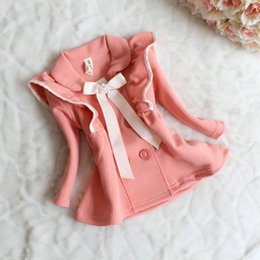 fashion buttons wholesale 2019 - 3 Color Girl Solid color fashion Outwear 2015 new children princess Long sleeve Candy color fashion coat baby clothes B0