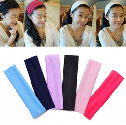 yoga cotton headbands 2019 - 10PCS Multicolor Good quality Popular fashion candy color sports yoga elastic headband toweling hair lead the hoop head