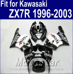 $enCountryForm.capitalKeyWord Canada - Plastic bodywork set for Kawasaki Ninja ZX7R fairings 1996 - 2003 ZX 7R 96-02 03 white black West fairing body kit AQ6