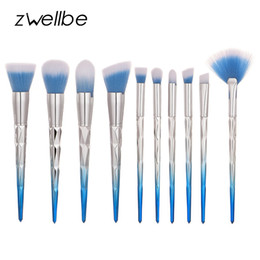 blush makeup hair NZ - Zwellbe 10pcs Diamond Shape Makeup Brushes Set Synthetic Hair Make Up Kabuki Brush Set Foundation Blending Powder Blush Brushes
