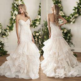 jasmine garden 2019 - Jasmine 2018 Tiered Skirts Mermaid Wedding Dresses Sweetheart Vestido De Novia Backless Bridal Gowns Lace Appliqued Trum