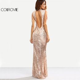 Corte Largo Maxi Baratos-COLROVIE Rose Gold Sequins Maxi Party Dress Cut Out Back Mujeres Sirena Vestidos de verano 2017 Moda Sexy Slim Vestido largo elegante q1113