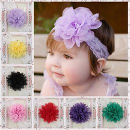 Wholesale Baby Chiffon Flower Hairband Hair Accessories Baby Girls Lace Headband Infant Girl Hair Weave Band Childern Hair Clips