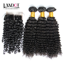 filipino virgin human hair NZ - Filipino Kinky Curly Virgin Hair With Closure 7A Grade Unprocessed Deep Curly Human Hair Weaves 3Bundles And 1Pcs Top Lace Closures Size 4x4
