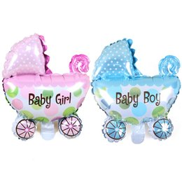 Wholesale New Style Mini Baby Stroller Foil Balloons Baby Shower Baby Carriage Boy Girl Balloon Inflatable Toys Children Birthday Party Decoration