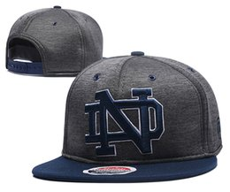 new concept 2118d 3bf43 Wholesale Men s Norte Dame Fighting Irish NCAA Snapback Hats USA College  Letter Logo Design Grey Baseball Design Bones Adjustable Caps