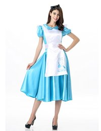 Cosplay Cosplay D'alice Alice Pas Cher-Halloween Maid Costumes Womens Adulte Alice au Pays des Merveilles Costume Costume Maids Lolita Déguisement Cosplay Costume Pour Femmes