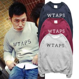 Wtaps Xl Baratos-Venta al por mayor WTAPS MDNS simple estilo Hoodies Hombres moda Hip Hop Casual Sudadera hombres suelto O cuello de algodón Fleece grueso Sudadera con capucha