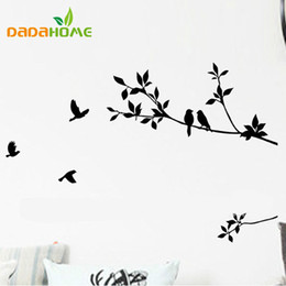 Discount tree branch vinyl wall art - DIY Removable Mural Wall Sticker decals decoration art branch tree and birds Art Vinyl black classic pattern