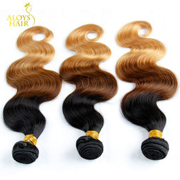 16 inch 1b hair Australia - Ombre Mongolian Hair Weave Bundles Grade 6A Ombre Mongolian Body Wave Virgin Human Hair Extensions 3Pcs Three Tone 1b 4 27# Tangle Free