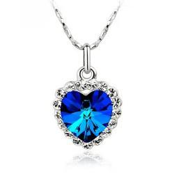 """Titanic Chains NZ - Jewelry wholesale 3D """" Titanic """" Rose classic - colorful heart Austria Crystal Necklace Pendant - available in 9 colors"""