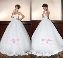 Empire De Chérie De Longue Robe Pas Cher-2014 Blanc Lace Ball Gown Robes de Mariée 2015 Spaghetti Sweetheart Appliques Backless Empire plis Fall Garden Church Robes de mariée BO6536