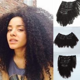 Wholesale African American Clip in Human Hair extension Brazilian Virgin Hair Clip in extension afro Kinky Curly Clip in Hair extension