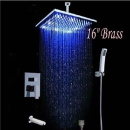 """$enCountryForm.capitalKeyWord Canada - Wholesale And Retail Promotion Large LED 16"""" Rain Shower Faucet Tub Mixer Tap Cell Mounted Shower Set Hand Unit"""