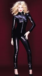 Barato Ternos De Corpo De Látex Mulheres-Venda por atacado- Hot Sexy Black Catwomen Jumpsuit PVC Spandex Latex Catsuit Costumes para mulheres Body Suits Fetish Zipper Leather Jumpsuit