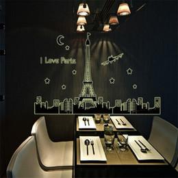 $enCountryForm.capitalKeyWord NZ - Paris Night Fashion Removable Home Decor Wall Stickers For Living Room Home Decoracion Pared Pegatinas Factory Wholesale