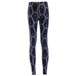 Leggings Cross-print Pas Cher-2017 NOUVEAU 3866 Croix Plaid Géométrie Pentagone Imprime Sexy Fille Crayon Yoga Pantalon GYM Fitness Workout Polyester Femmes Leggings Plus La Taille