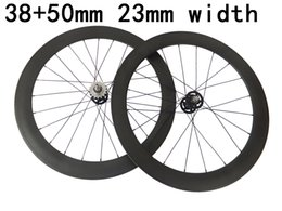 Bicycling Gear Australia - 100% carbon fixed gear wheels fonrt 38mm rear 50mm track bicycle wheelset 23mm width rims free shipping