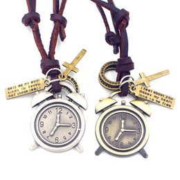 $enCountryForm.capitalKeyWord Canada - Alarm Clock Adjustable Leather Necklace Metal Pendant Charms Punk Rock Hiphop Decorations Amulet Fashion Jewelry 10Pcs