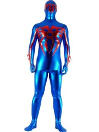 Barato Trajes Cosplay Cor Azul-Spiderman Cosplay Costumes Cosplay Party Zentai Suit Blue Color Unisex Superhero Costumes Superhero Character Elastic Lycar Fabric SMC63