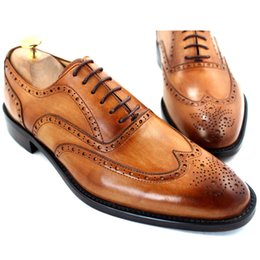 f2c85f6f18f8 Men Dress shoes Oxfords shoes Custom handmade shoes Men's shoes Genuine leather  Wingtip brogue Design Color brown HD-054