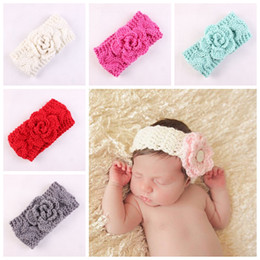 Discount wool head bands Boutique Xmas Newborn knit elastic Head Wrap knitting wool flower hair band baby baptized Headband Turban Twist knotted